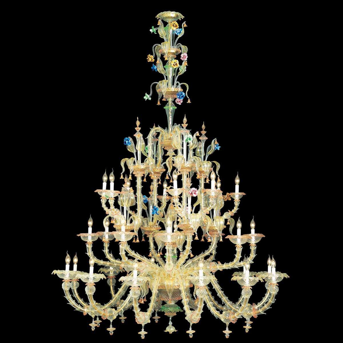 """""""Ester"""" lustre en cristal de Murano - 12+8+8 lumières - transparent, multicolor et or"""