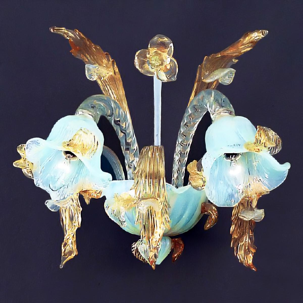 Vivaldi 2 lumieres applique Murano - couleur opale or