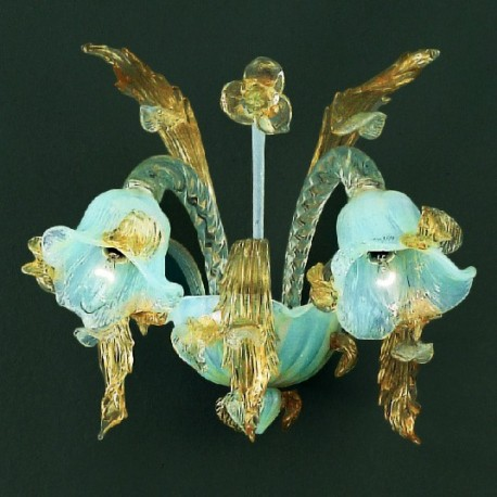 Vivaldi 2 lights Murano sconce - opal transparent gold color