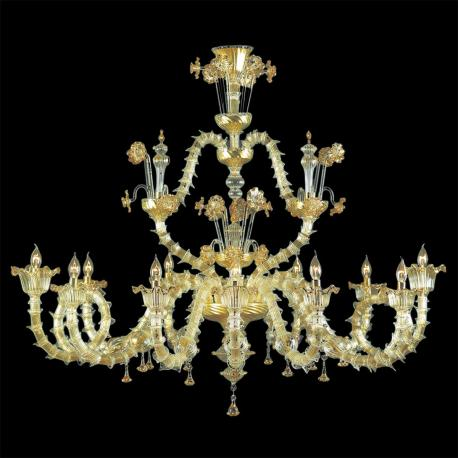 """Arabesque"" Murano glass chandelier - 12 lights - transparent and gold"