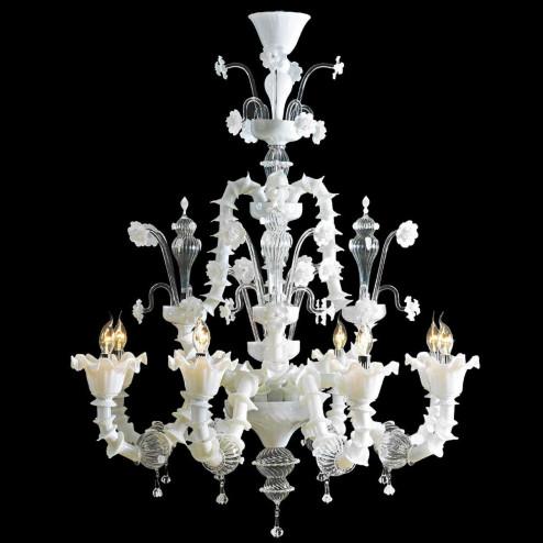 """""""Alessandra"""" lustre en cristal de Murano - 8 lumières - blanc et transparent"""