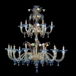 """Anastasia"" Murano glass chandelier - 12+6 lights - transparent and multicolor"