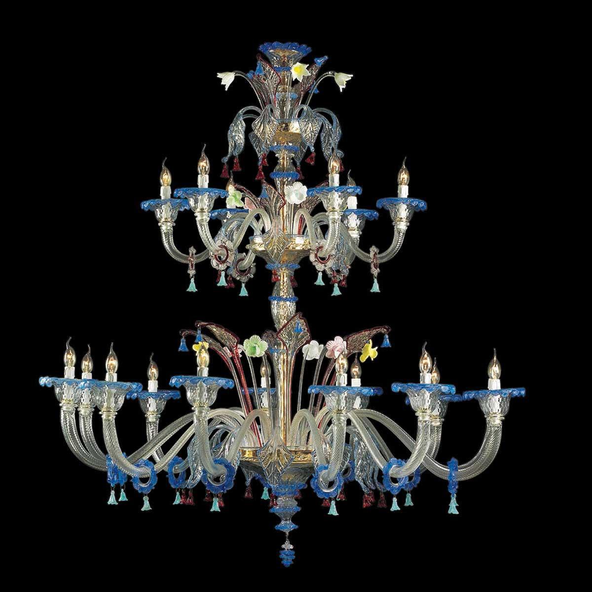 """""""Anastasia"""" lustre en cristal de Murano - 12+6 lumières - transparent et multicolor"""