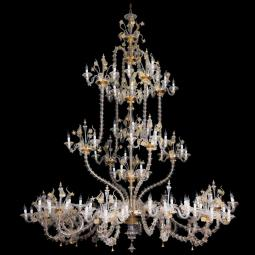 """Fenrir"" Murano glass chandelier - 111 light - transparent and gold"