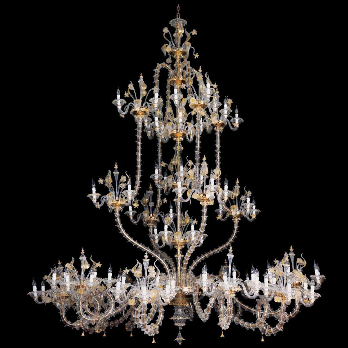 """""""Fenrir"""" lampara de araña de Murano - 111 luce - transparente y oro"""