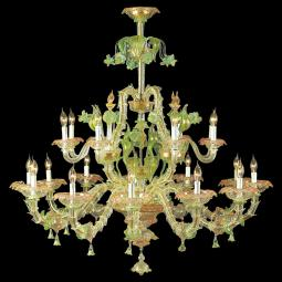 """Cinzia"" Murano glass chandelier - 12+8 lights - transparent, multicolor and gold"