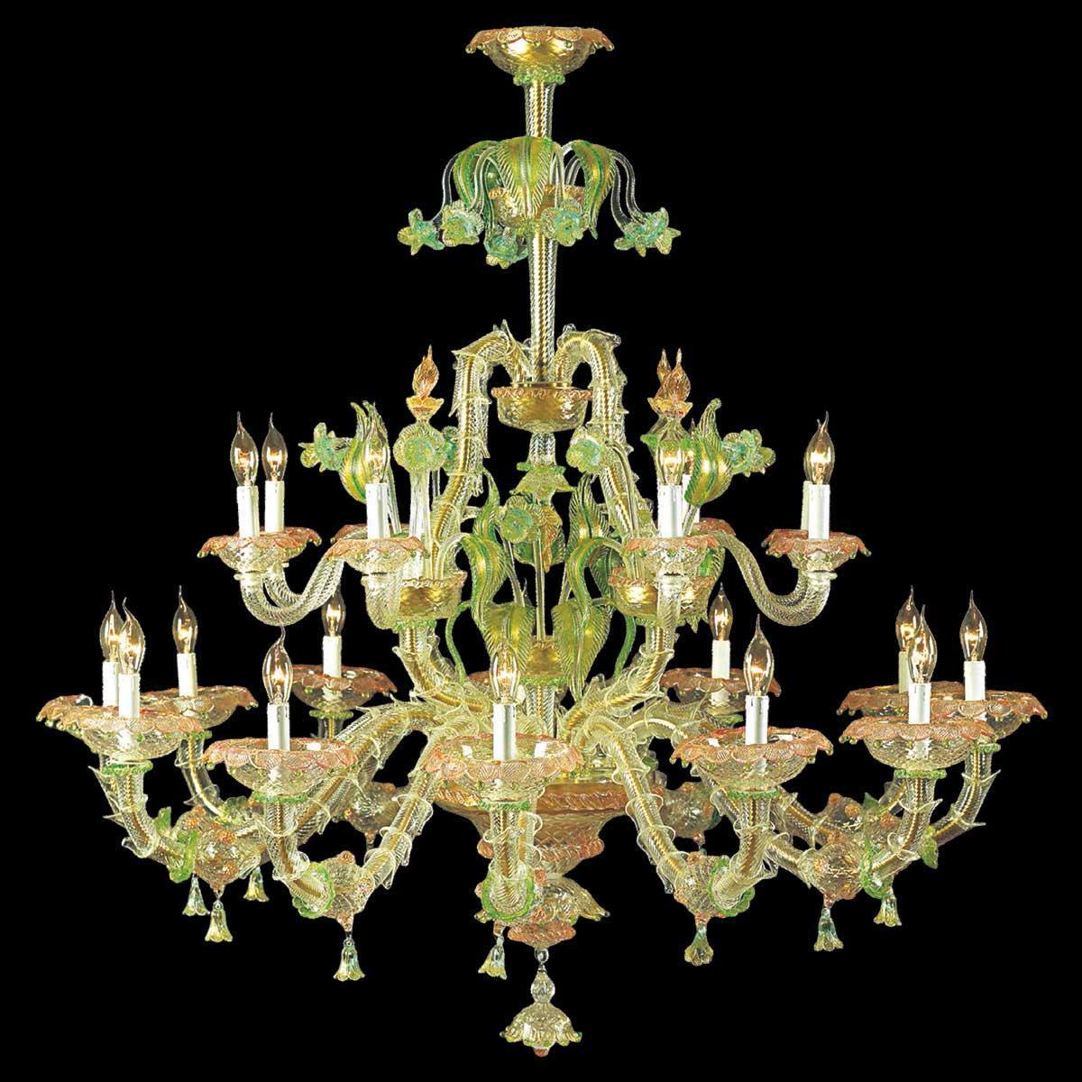 """""""Cinzia"""" lustre en cristal de Murano - 12+8 lumières - transparent, multicolor et or"""