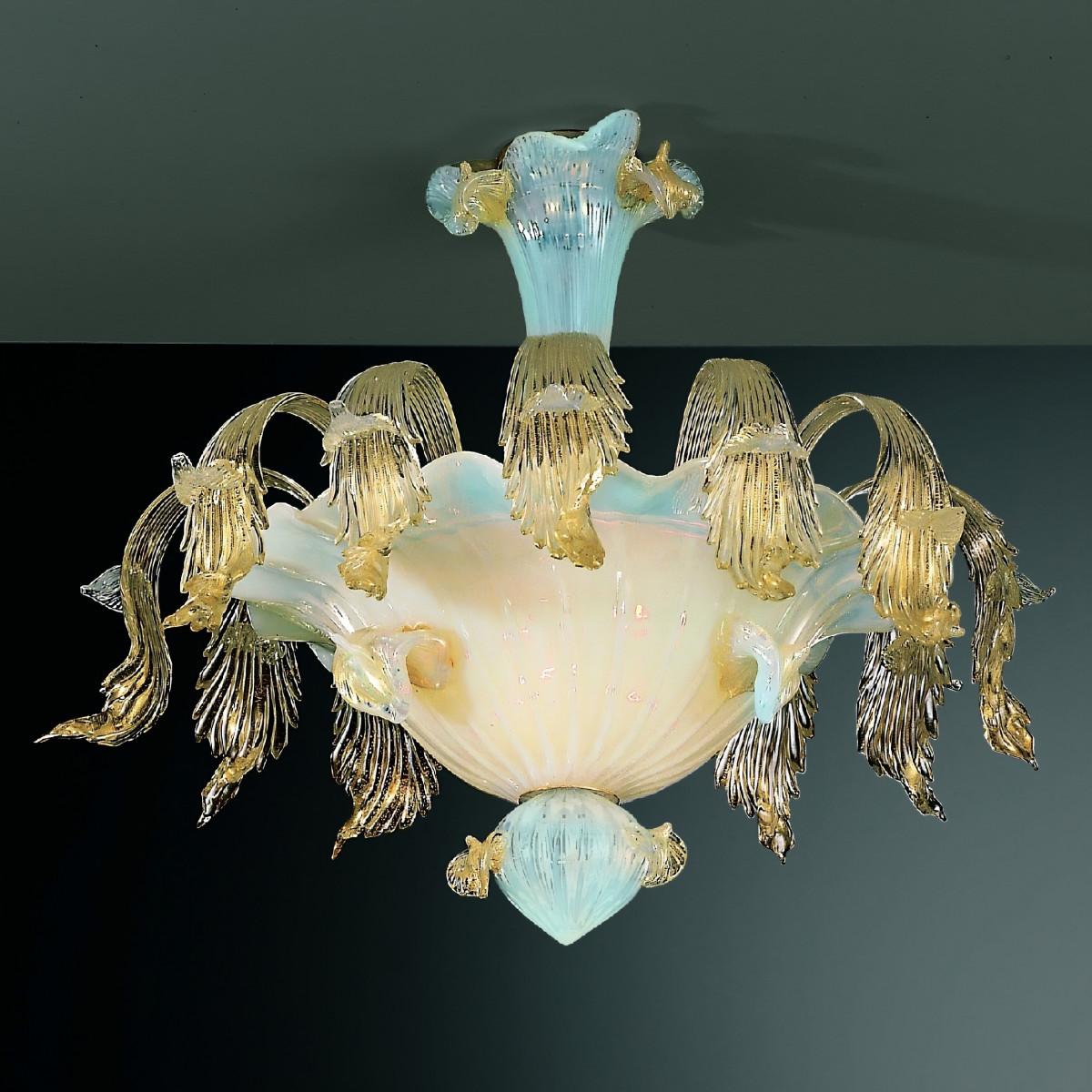 Vivaldi 6 lights Murano ceiling lamp opal transparent gold color
