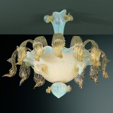 Vivaldi 6 lights Murano ceiling lamp transparent gold color