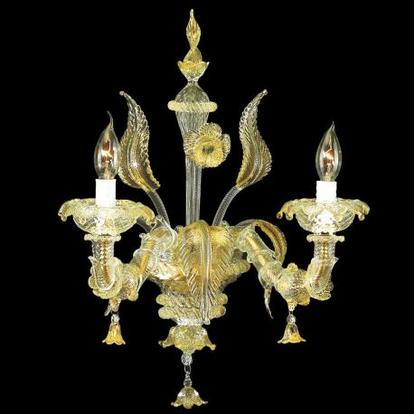 """Cinzia"" Murano glass sconce - 2 lights - transparent and gold"