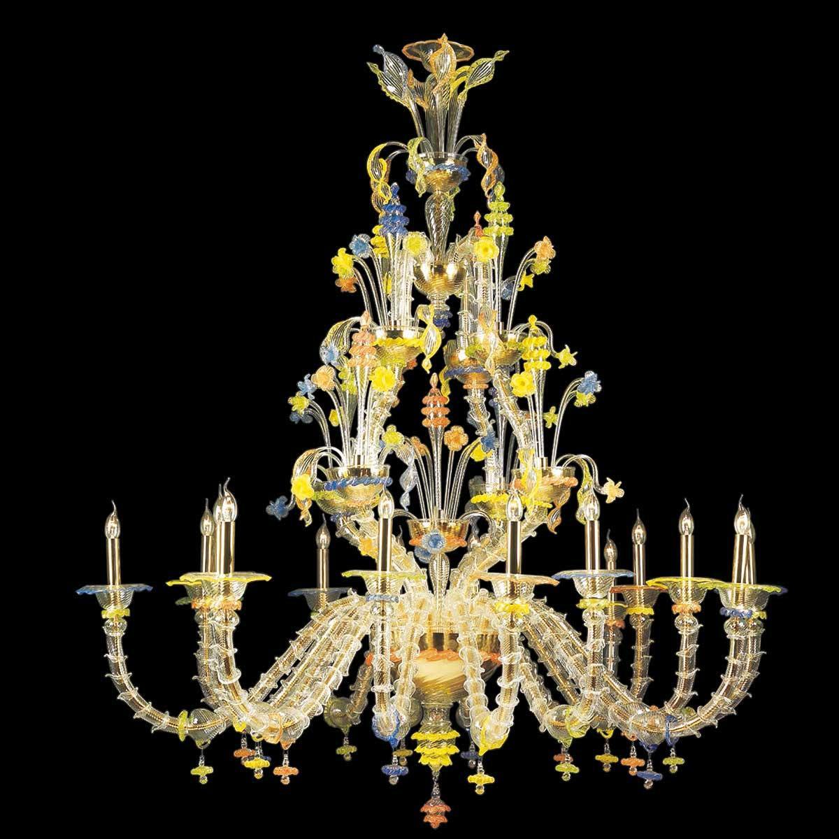 """Carlotta"" Murano glas Kronleuchter - 8+8 flammig - transparent, multicolor und gold"