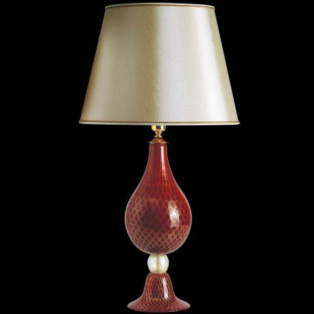 """Rossella"" Murano glass table lamp - 1 light - red and gold"