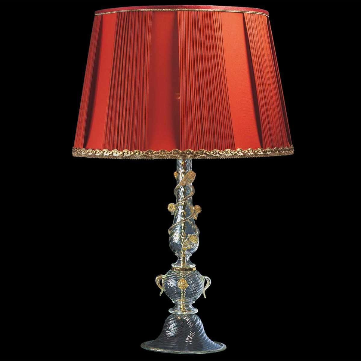 """""""Luisa"""" lampe de table en verre de Murano - 1 lumière - transparent et or"""