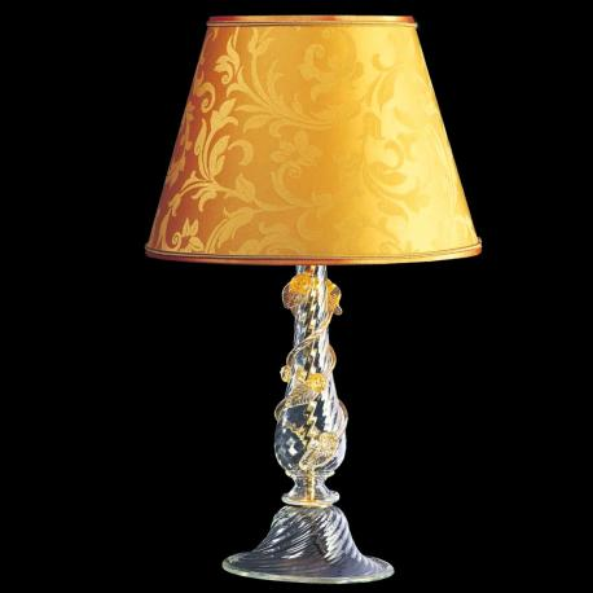 """""""Luisa"""" lampara de mesita de noche de Murano - 1 luce - transparent y oro"""