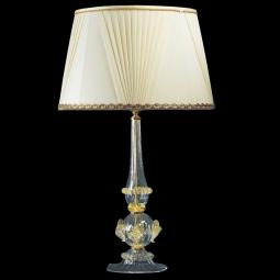 """Ancella"" Murano glass table lamp - 1 light - transparent and gold"
