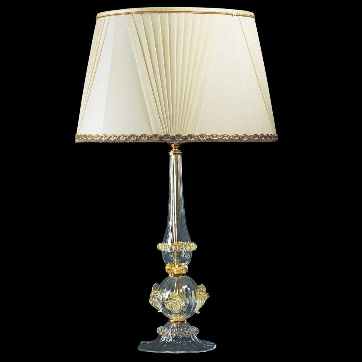 """""""Ancella"""" lampe de table en verre de Murano - 1 lumière - transparent et or"""