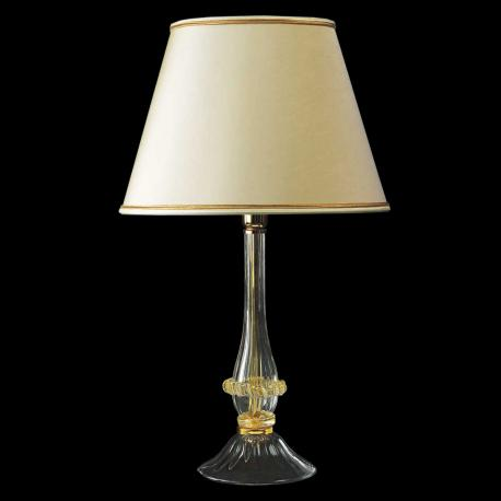"""Ancella"" Murano glass bedside lamp - 1 light - transparent and gold"