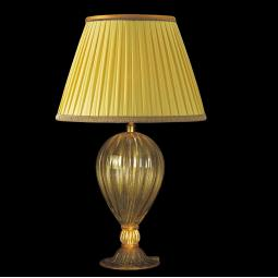 """Caleido"" Murano glass table lamp - 1 light - amber and gold"