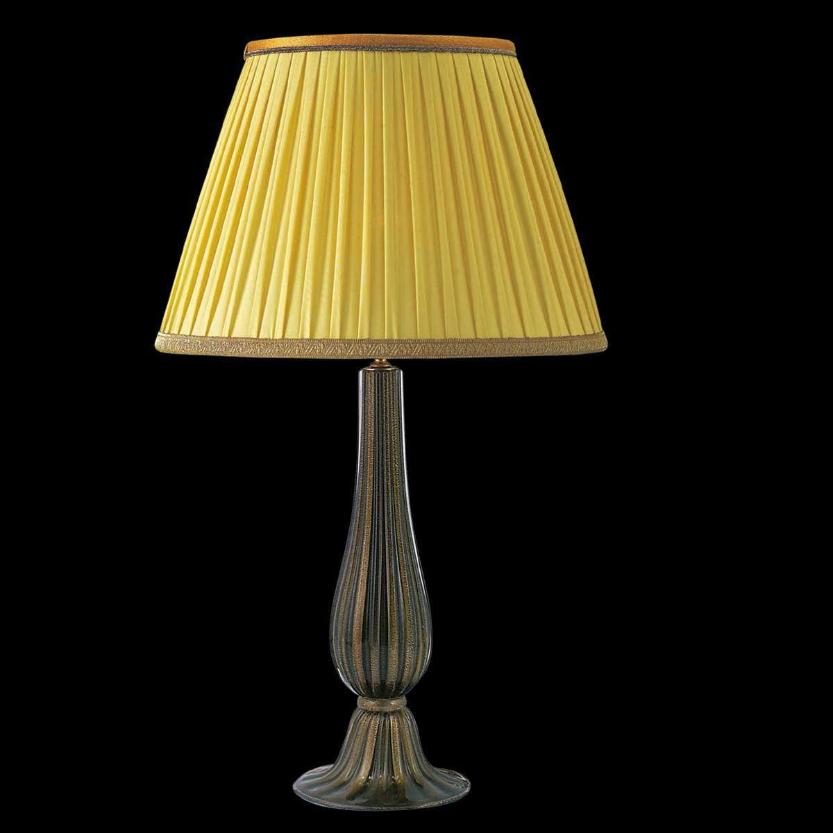 """""""Uranio"""" lampara de sobremesa de Murano - 1 luce - negro y oro"""