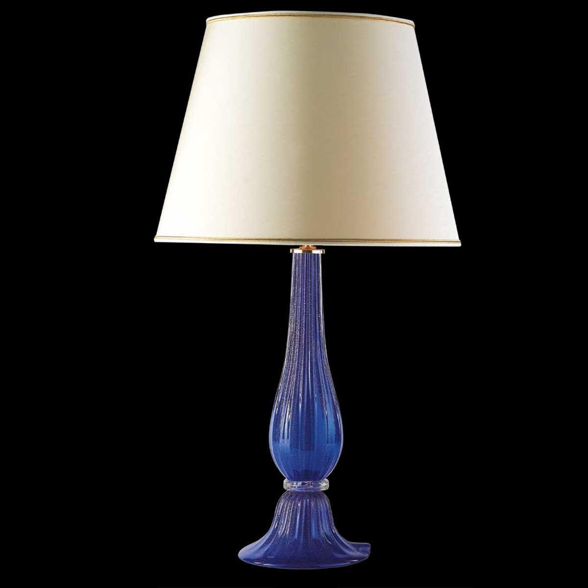 """""""Uranio"""" lampara de mesita de noche de Murano - 1 luce - azul y oro"""