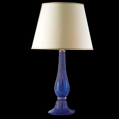 """Uranio"" Murano glass bedside lamp - 1 light - blue and gold"