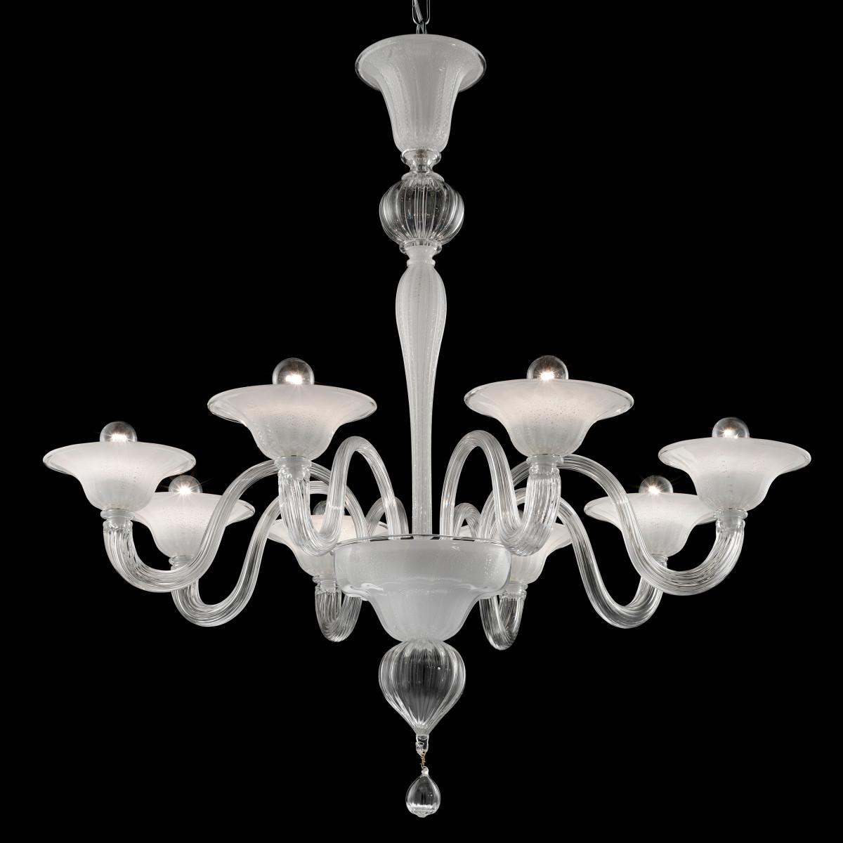 Doge 8 luces araña de Murano - color blanco plata y transparente