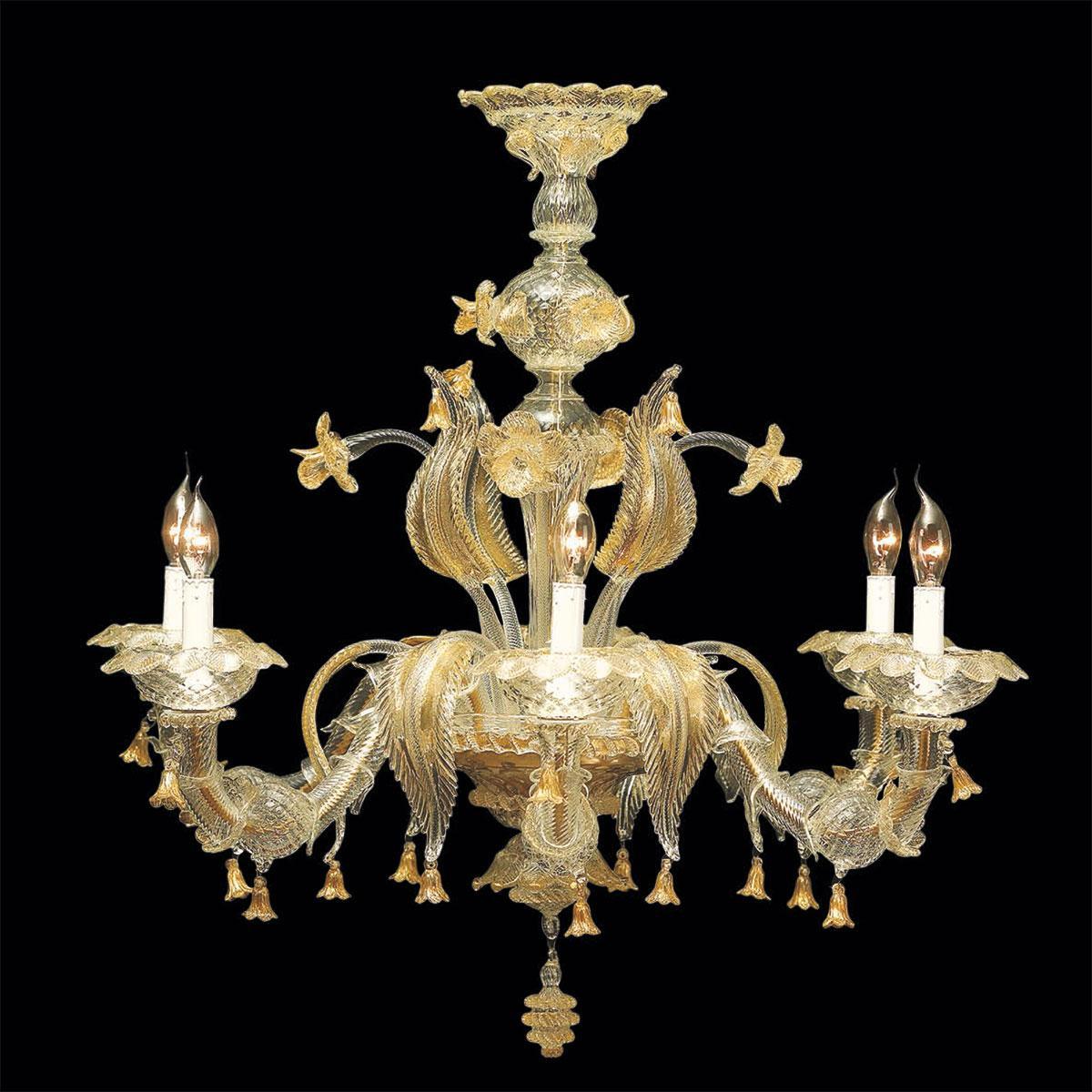 """""""Valeria"""" lustre en cristal de Murano - 6 lumières - transparent et or"""