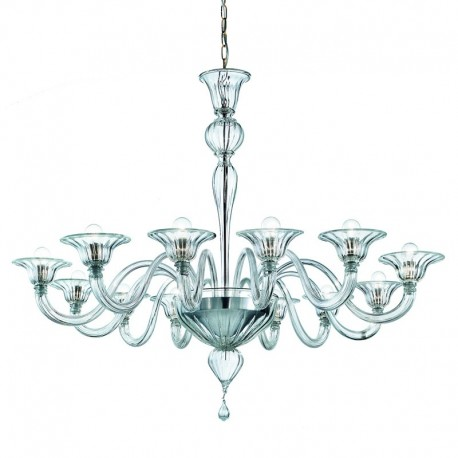 Doge 12 lights Murano chandelier - transparent color