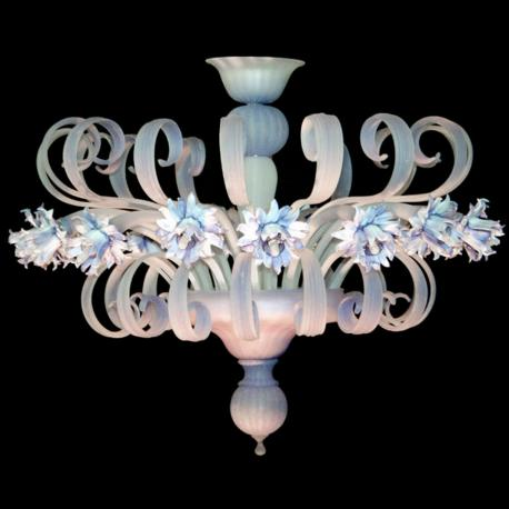 """Foglia Bianca"" Murano glass ceiling light - 16 lights - white"