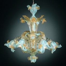 Vivaldi 6 lights Murano chandelier with crests opal gold color