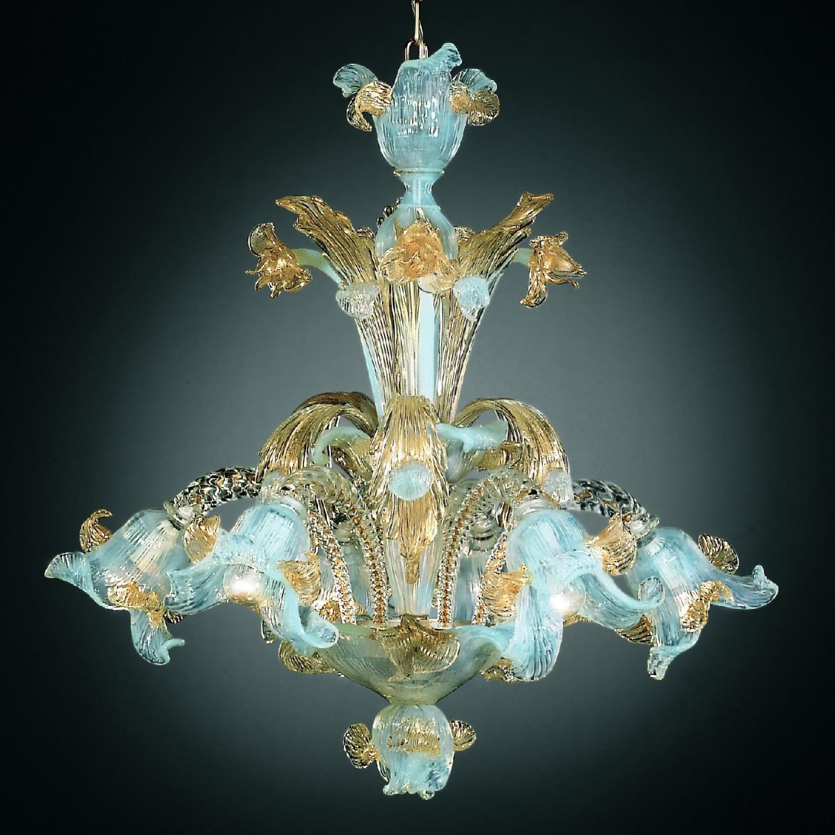 Vivaldi 6 luces araña de Murano - color ópalo oro