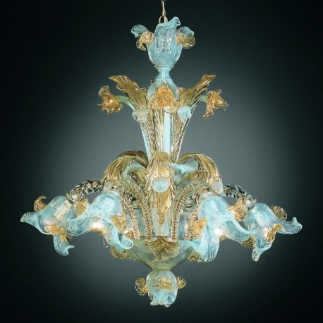 Vivaldi 6 lights Murano chandelier - opal gold color
