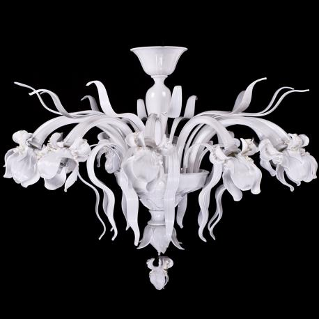 """Bianca Iris"" Murano glass ceiling light - 12 lights - white"