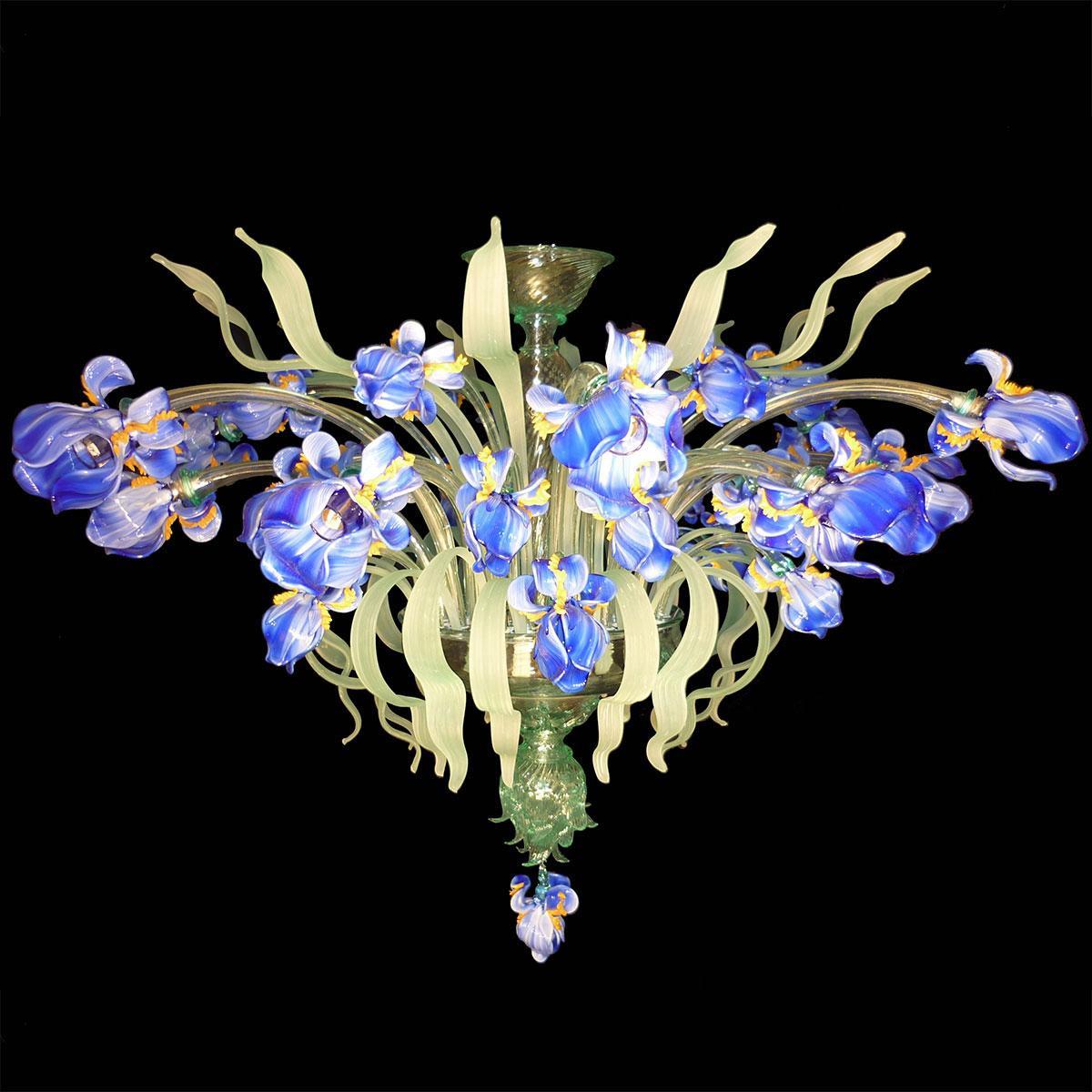 """""""Iris Blu"""" plafonnier en verre de Murano - 12 lumières - multicolor"""
