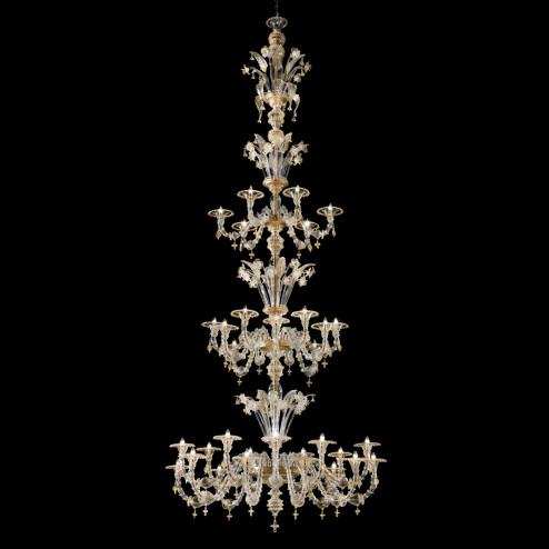 Bellini Murano glas Kronleuchter - Transparente gold 24k Farbe