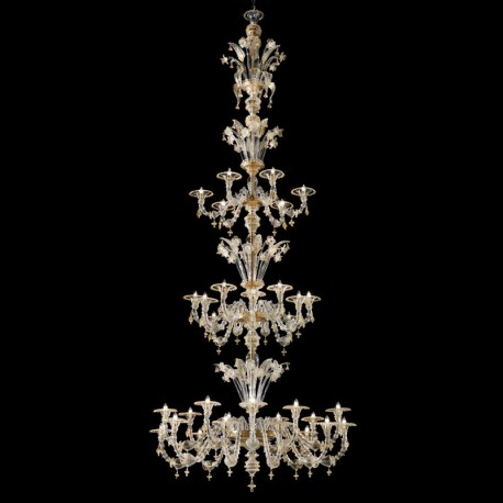 Bellini Murano glass chandelier -Transparent 24k gold color