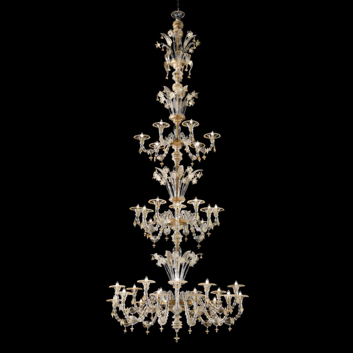 Bellini Murano glass chandelier -Transparent 24k gold color