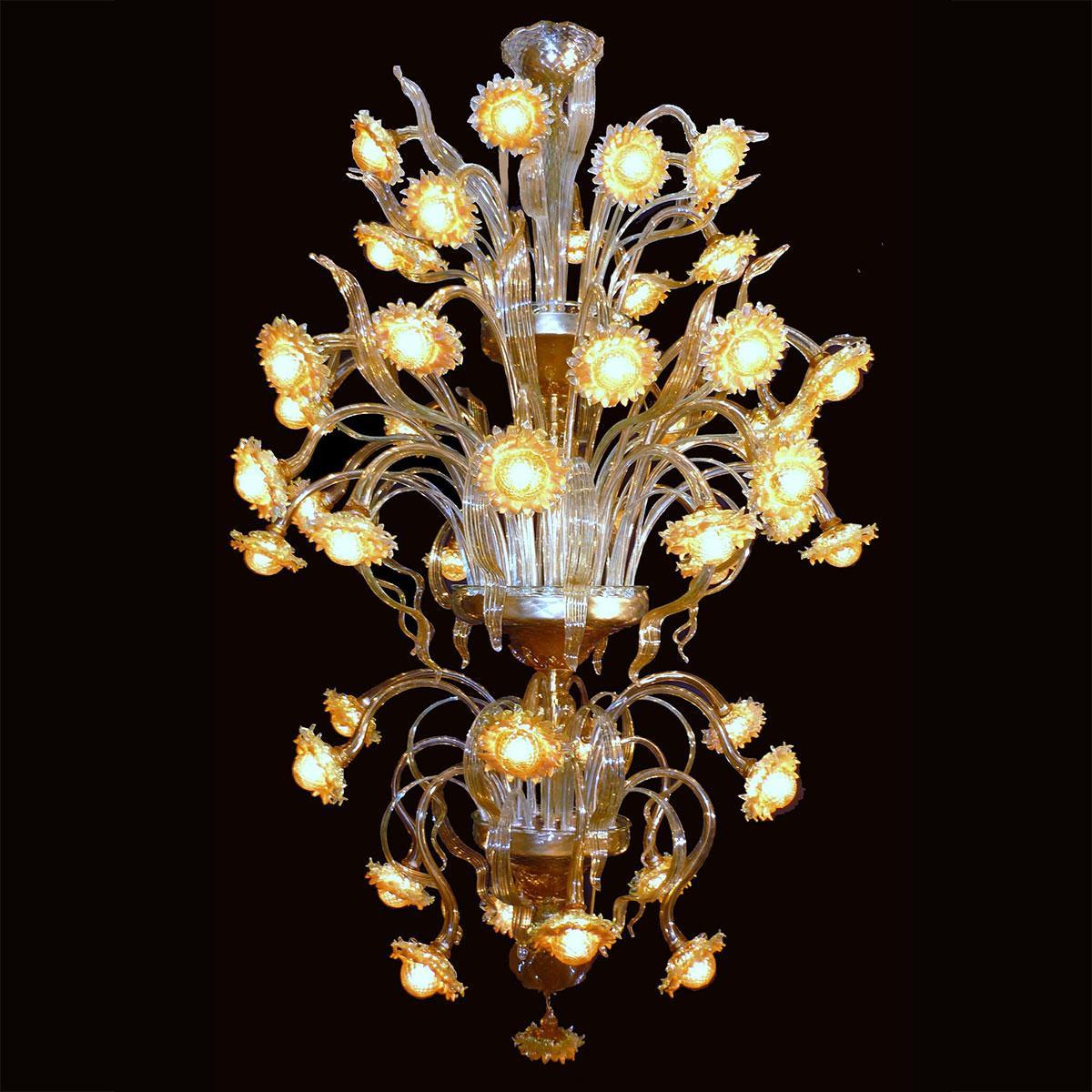 """""""Girasoli Luminosi"""" lampara de araña de Murano - 48 luces - ámbar"""