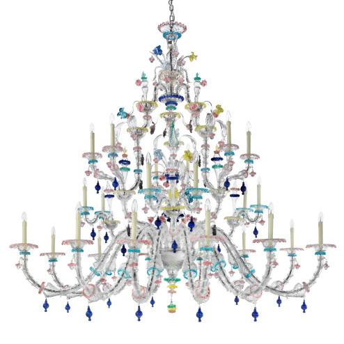 Aurora 24 flammig klassische Murano glas Kronleuchter - Transparent polychrome Farbe
