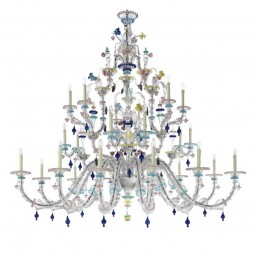 Aurora 24 lights classic Murano chandelier - transparent polychrome color
