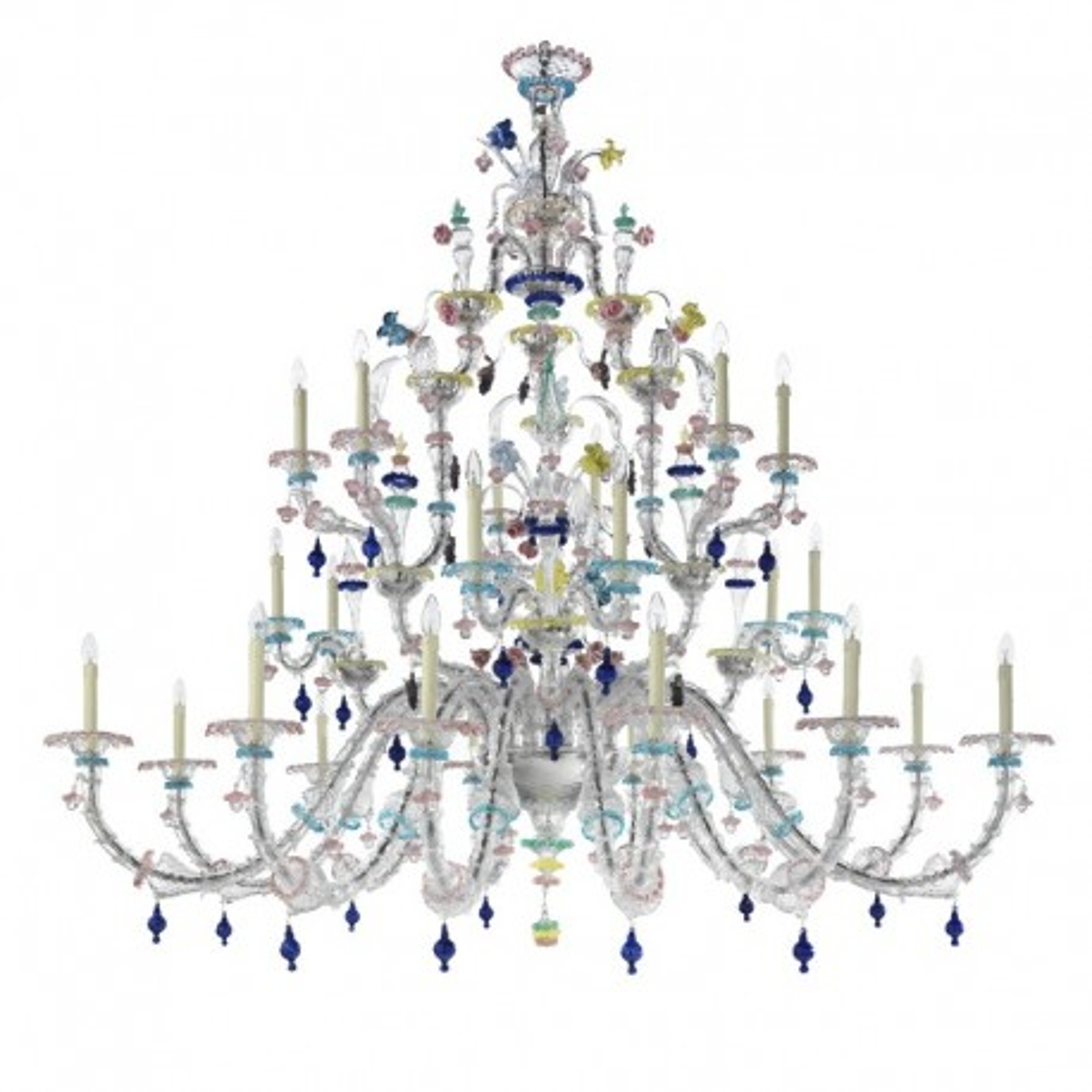 Aurora 24 lights classic Murano chandelier - transparent polychrome color