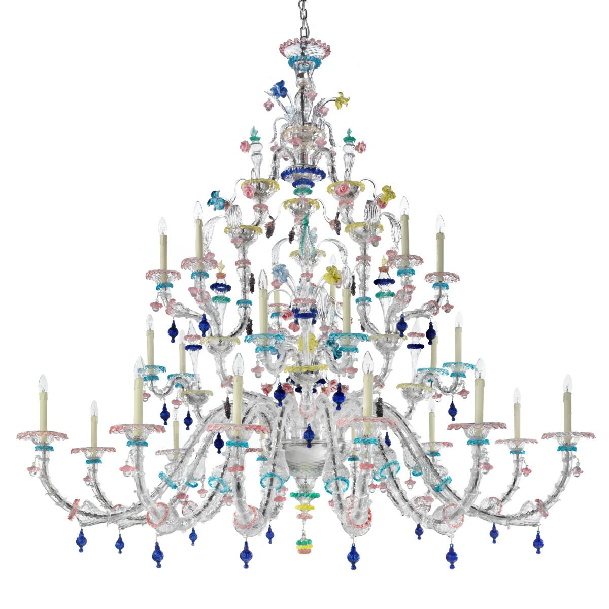 Aurora 24 lumières lustre classique Murano - couleur  transparent polychrome