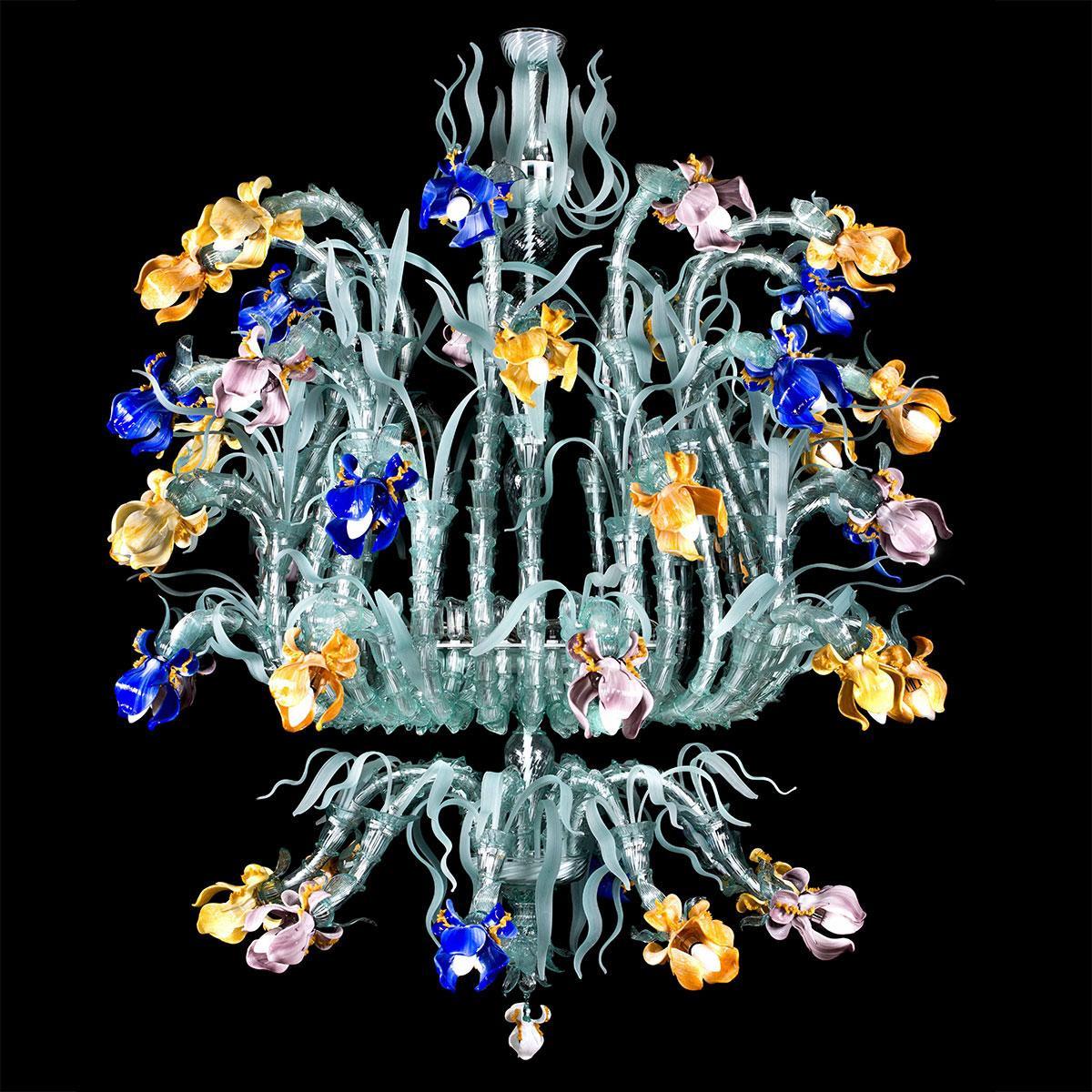 """Gemma"" Murano glass chandelier - 45 lights - multicolor"