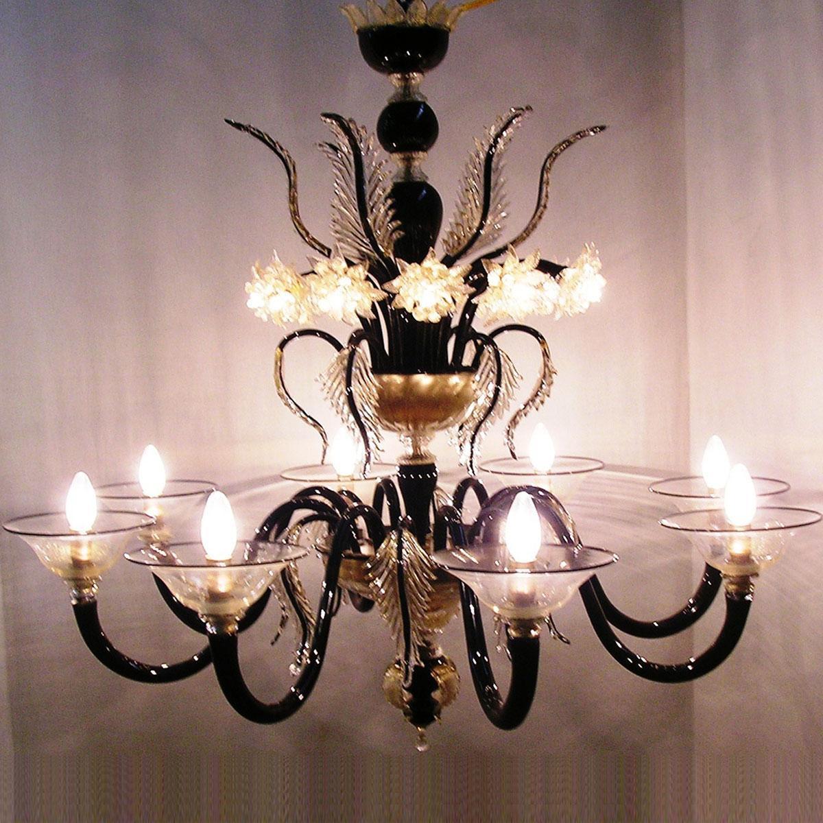 """""""Piramide"""" lampara de araña de Murano - 8 luces - negro"""