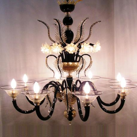 """Piramide"" Murano glass chandelier - 8 lights - black"
