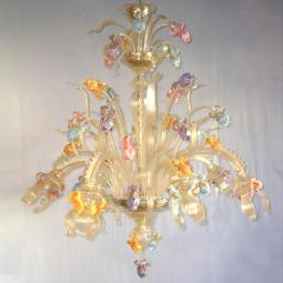 """Iris Dorato"" Murano glass chandelier - 6 lights - gold"