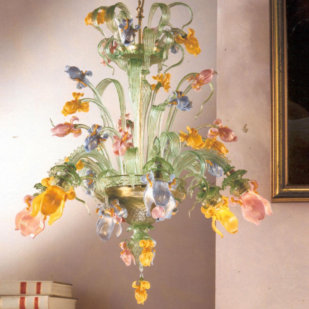 """""""Verde Iris"""" lustre en cristal de Murano - 6 lumières - vert"""
