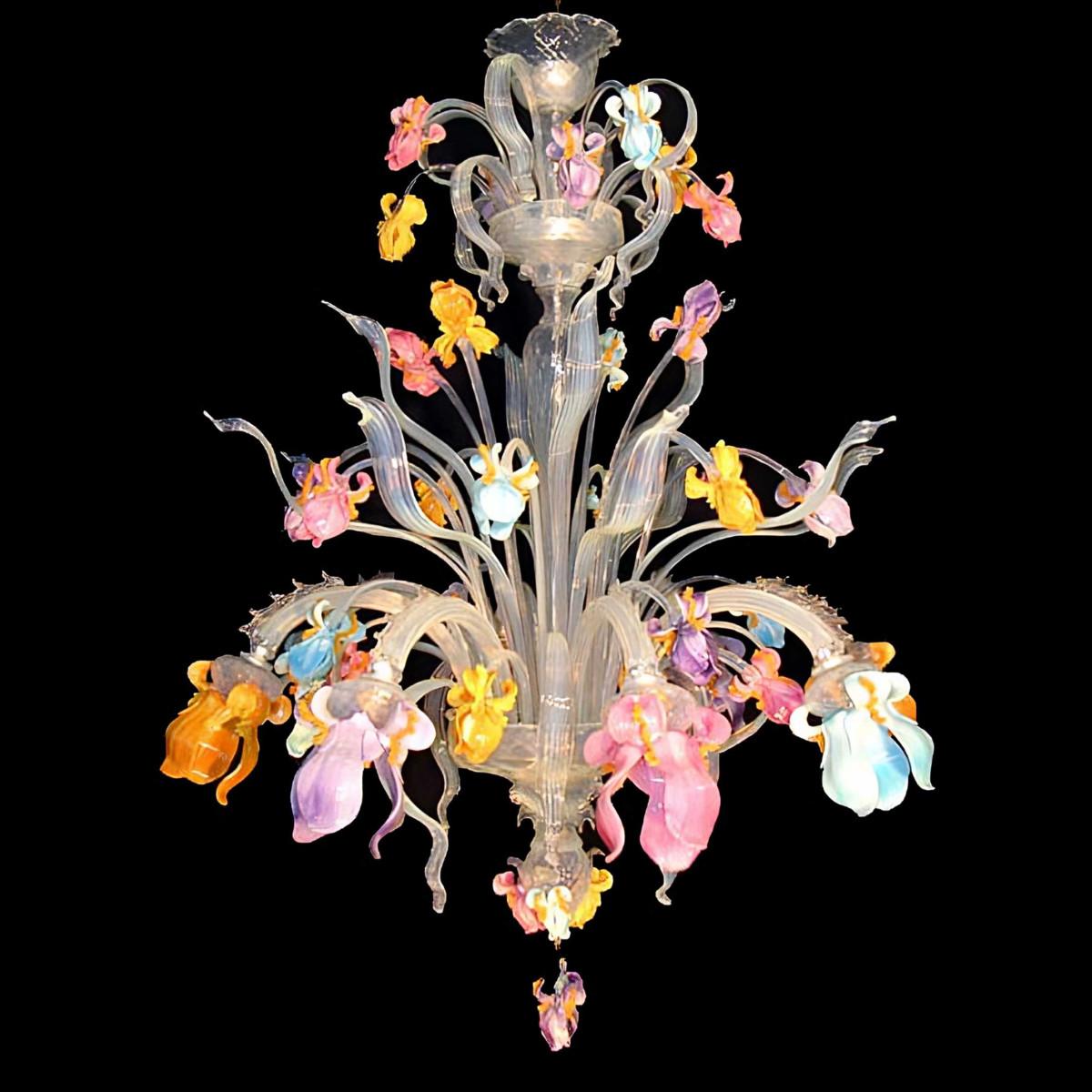 """Letizia"" lampara de araña de Murano - 8 luces - multicolor"