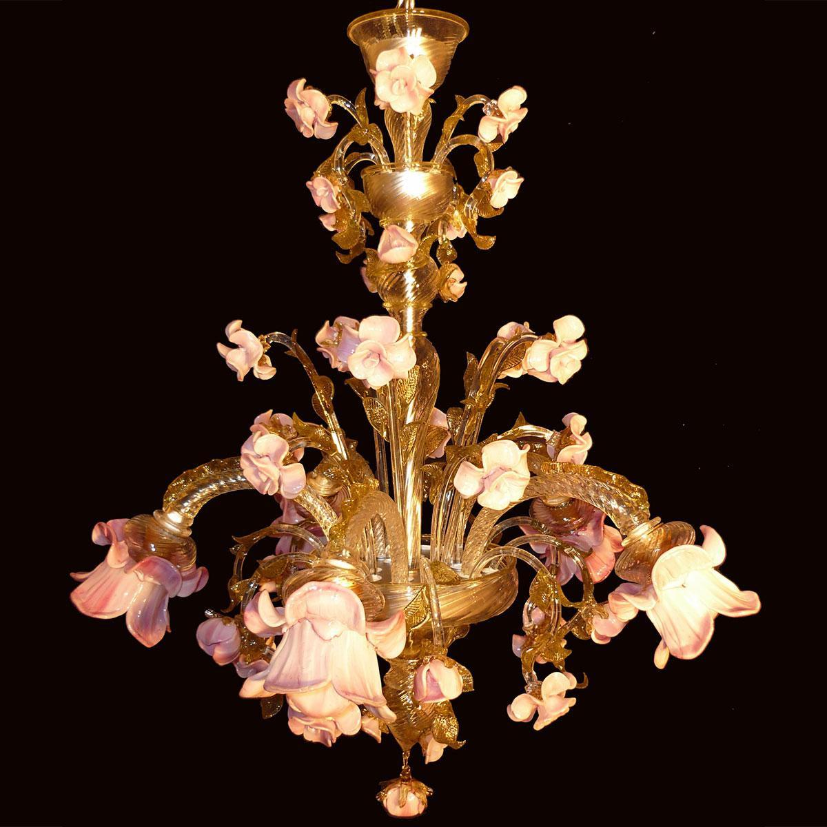 """""""Rosaspina"""" lustre en cristal de Murano - 5 lumières - ambre"""
