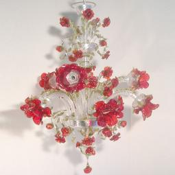 """Roseto Rosso"" Murano glass chandelier - 9 lights - transparent and red"